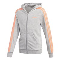 adidas Essentials 3 Stripe Full Zip Hoodie - Girls - Medium Grey/Coral