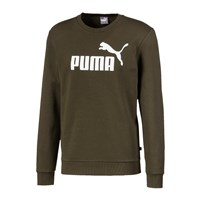 Puma Essentials Big Logo Crew Neck Fleece Sweat Top - Mens - Forest Night