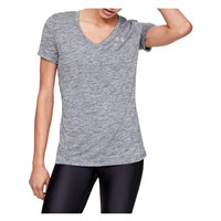 Under Armour Tech Twist V Neck Training Tee - Womens - Pitch Grey/Metallic Silver
