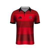 Mc Keever Big Red Farm Range Rugby Polo - Mens - Red/Black
