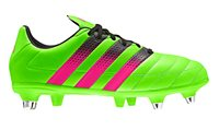 adidas Ace 16.3 Jr SG Leather Football Boots - Youth - Solar Green/Shock Pink/Core Black
