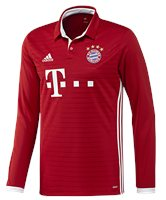 adidas FC Bayern Munich 2016/17 Long Sleeve Home Jersey - Youth - True Red/White