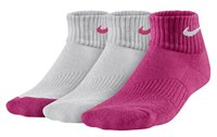 Nike 3 Pair Pack Cushion Quarter Sock - Girls - Pink/White