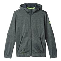 adidas Messi Full Zip Hoodie - Boys - Dark Grey/Solar Green