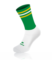 Mc Keever Pro Mid 3 Bar Socks - Adult - White Ankle/Green/2 Gold/1 White Bar