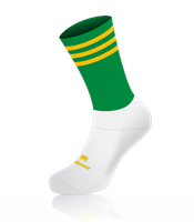 Mc Keever Pro Mid 3 Bar Socks - Youth - White Ankle/Green/Gold