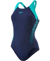 Speedo Boom Splice Racerback Swimsuit - Womens - Navy/Green