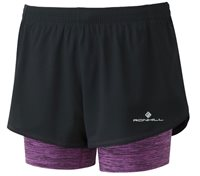 Ronhill Infinity Twin Running Shorts - Womens - Black/Thistle Marl