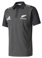 adidas New Zealand All Blacks 2017/18 Polo - Adult - Dark Grey Heather/Medium Grey Heather
