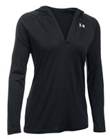 Under Armour Tech Long Sleeve Hooded Henley - Womens - Black/Metallic Silver