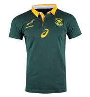 Asics South Africa Springboks Rugby 2017/18 Fan Jersey - Adult - Bottle Green