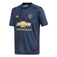 adidas Manchester United FC 2018/19 Short Sleeve Third Jersey - Youth - Collegiate Navy/Night Navy/Matte Go