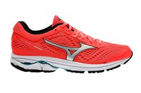 Mizuno Wave Rider 22 Running Shoes - Womens - Fiery Coral/ Silver/ Peacock Blue