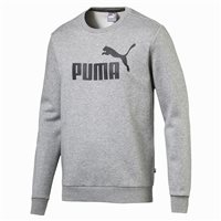 Puma Essential Logo Crew Fleece Sweat Top - Mens - Medium Grey Heather