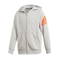 adidas BOS Full Zip Hooded Jacket - Boys - Medium Grey Heather/Orange