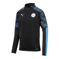 Puma Manchester City FC 2019/20 1/4 Zip Jacket - Adult - Puma Black/Team Light Blue