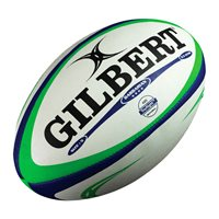 Gilbert Barbarian Match Rugby Ball - Size 5 - White/Blue/Green