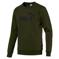Puma Essential+ Big Logo Crew Neck Fleece Sweat Top - Mens - Forest Night