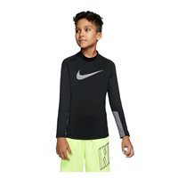 Nike Pro Long Sleeve Therma Mock GFX - Boys - Black/Gunsmoke/White