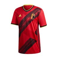 adidas Belgium UEFA Euro 2020 Official Short Sleeve Home Jersey - Adult - Red
