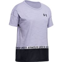 Under Armour Charged Cotton Taped Short Sleeve Tee - Girls - Purple Dusk/Black