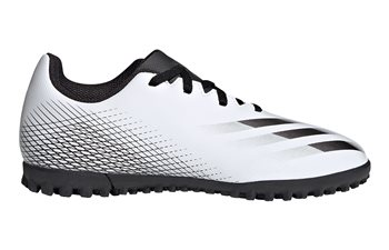 adidas X Ghosted.4 Turf Football Boots - Adult - White/Black/Silver  - Click to view a larger image