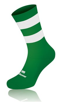 Mc Keever Pro Mid Hooped Socks - Adult - Green/White  - Click to view a larger image
