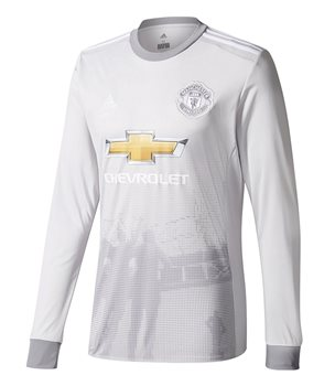 adidas Manchester United FC Official 2017/18 Long Sleeve Third Jersey -  Adult - Grey/White | Buy Online | TheGAAStore.com
