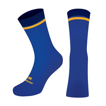 Mc Keever Sacred Heart School PE Pro Mid Socks - Adult - Blue/Gold/Navy  - Click to view a larger image