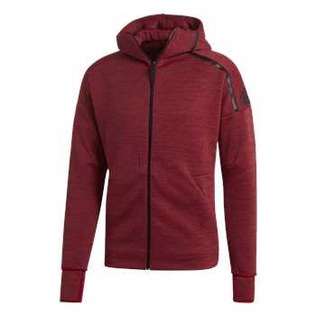 adidas ZNE Full Zip Hoodie - Mens - Active Maroon/Black  - Click to view a larger image