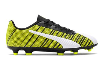 Puma One 5.4 FG/AG Football Boots - Adult - White/Black/Yellow Alert  - Click to view a larger image