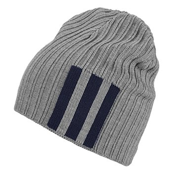 adidas 3Stripe Beanie - Adult - Medium Grey Heather/Legend Ink/White  - Click to view a larger image