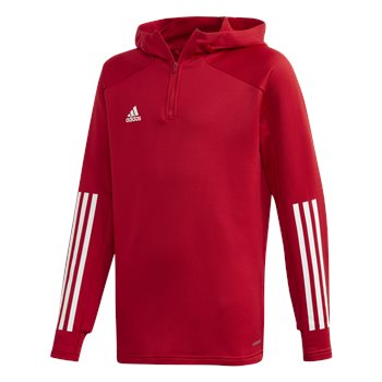 adidas Condivo 20 Track Hooded 1/4 Zip Top - Youth - Red/White  - Click to view a larger image