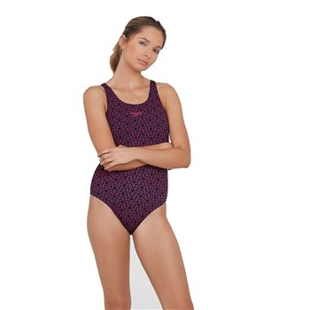 Speedo Boomstar Allover Muscleback 1 Piece Swimsuit - Womens - Black/Electric Pink